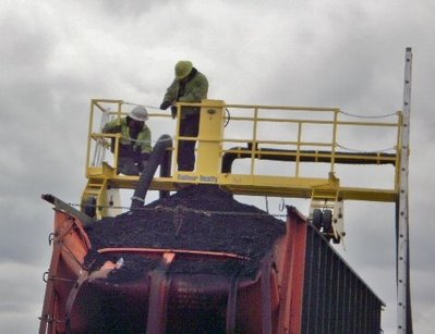 Catwalk provide safe access for workers to remove coal from RR car